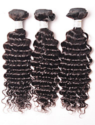 "3Pcs/Lot 150g 8""-26"" Unprocessed Brazilian Virgin Hair Natural Black Color Afro Deep Curly Human Hair Weave"