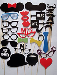 Photo Booth Props 31 piece DIY Kit for Wedding Party Reunions Birthdays Photobooth Dress-up Accessories & Party Favors