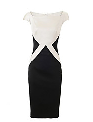Women's Party/Cocktail Simple / Street chic Plus Size / Black and White Dress,Color Block Square Neck Knee-length Short Sleeve Black