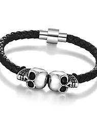 2016 Genuine Leather Skeleton Skull Stainless Steel Bracelets & Bangles Rock Mens Bracelet