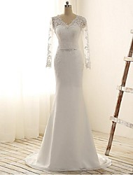 Trumpet / Mermaid Wedding Dress Court Train V-neck Chiffon / Lace with Lace / Sash / Ribbon / Sequin / Appliques / Beading