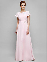Lanting Bride® Sheath / Column Mother of the Bride Dress Floor-length Short Sleeve Chiffon with Crystal Detailing / Draping