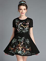 AOFULI Summer Fashion Vintage Women Elegant Embroidered Flowers Slim Pleat Short Sleeve Plus Size Dress