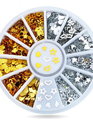 1wheel Gold Silver Metal Studs 3d Nail Art Decorations