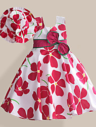 Girls Dress + Hat Plum Flower Print Party Pageant Holiday Lovely Baby Kids Clothing