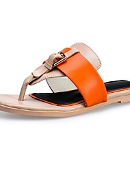 Women's Shoes Cowhide Low Heel Flip Flops Sandals Outdoor / Dress / Casual Blue / Pink / Orange