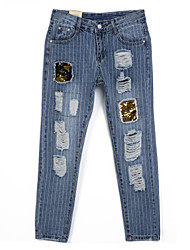 Women's Patchwork Blue Jeans Pants,Street chic