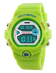 SKMEI Mulheres Relógio Esportivo Relogio digital LCD Calendário Cronógrafo Impermeável alarme Digital Borracha Banda DocePreta Branco