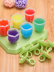 6Pcs DIY Ice Cream Mold Frozen Ice-lolly Jelly Icepop Block Maker Children Gifts