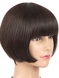 Peruvian Virgin Human Hair Full Machine Made None Lace Short Bob Wig Unprocessed Glueless Human Hair Bob Wig With Bangs