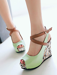 Women's Shoes Leatherette Wedge Heel Wedges / Peep Toe / Platform / Gladiator / Comfort / Novelty / Ankle Strap / Round