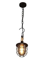 Single head, wrought iron glass chandelier