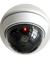 KingNEO 1pc White Wireless Fake Dummy Dome CCTV Security Camera with Flashing Red LED light for House or Office Mall