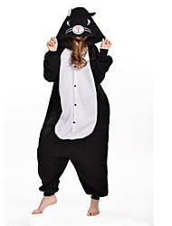 Kigurumi Pajamas New Cosplay® Cat Leotard/Onesie Festival/Holiday Animal Sleepwear Halloween Black Patchwork Polar Fleece Kigurumi For