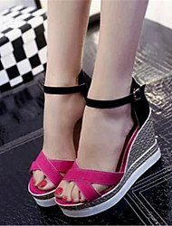 Women's Shoes Leatherette Wedge Heel Wedges Sandals Outdoor / Casual Black / Green / Red / Gray