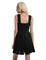 Women's Black/Royal Blue Mini Dress, Haliter Swing Design