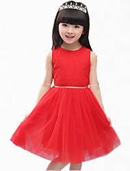 Girl's Red / White Dress,Lace Cotton Summer