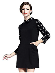 Women's Simple / Street chic A Line Dress,Patchwork Shirt Collar Above Knee Long Sleeve Black Polyester Spring