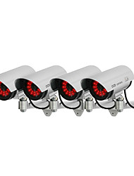 KingNEO 4pcs White Wireless Fake Dummy Dome CCTV Security Camera LED light