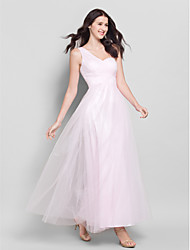 Lanting Bride® Ankle-length Tulle Bridesmaid Dress - A-line One Shoulder with Criss Cross