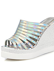 Women's Shoes Leatherette Wedge Heel Wedges Sandals Casual Silver / Gold
