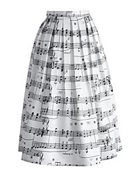 Women's Print White Skirts,Street chic Knee-length  Summer Dresses