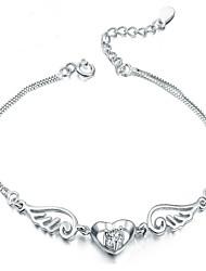 Femme Charmes pour Bracelets Argent sterling Mode Forme de Coeur Blanc Violet Bijoux 1pc