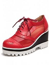 Women's Shoes Leatherette Wedge Heel Heels Heels Wedding / Office & Career / Party & Evening Black / Red / Beige