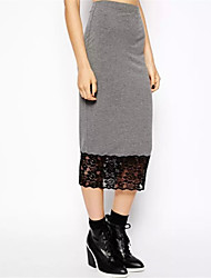 Women's Patchwork White / Black / Gray Skirts,Street chic Knee-length