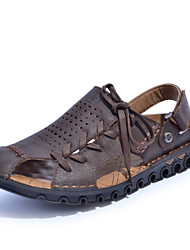 Men's Spring Summer Fall Comfort Nappa Leather Outdoor Casual Flat Heel Lace-up Brown Yellow Burgundy