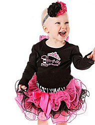 Girl's Black Clothing Set,Bow Cotton Spring / Fall