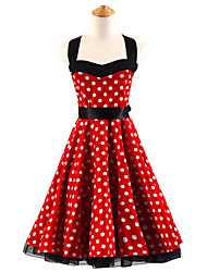 50s Era Vintage Style Halterneck Rockabilly Dress Cosplay Costume Red White Polka Dot (with Petticoat)