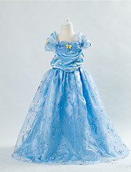 Girl's Cotton Summer Butterfly Decoration Cinderella Full Dress