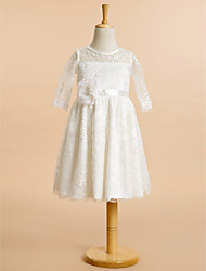 A-line Knee-length Flower Girl Dress - Lace Scoop with Lace