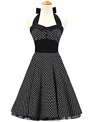 50s Era Vintage Style Halterneck  Buttons Rockabilly Dress Cosplay Costume Black White Mini Polka Dot (with Petticoat)