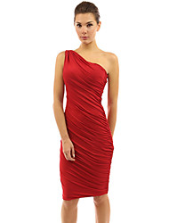Women's Simple Solid Bodycon Dress,One Shoulder Knee-length Polyester