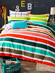 Colorful striped 100% Cotton Bedclothes 4pcs Queen Size  Bedding Set Duvet Cover Set