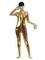 Zentai Suits Ninja Zentai Cosplay Costumes Golden Solid Leotard/Onesie / Zentai / Catsuit Spandex / Shiny Metallic UnisexHalloween /