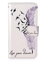 Feather Pattern Embossed PU Leather Case for iPhone 5/iPhone 5S/iPhone SE