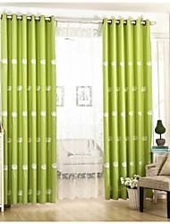 Deux Panneaux Rustique / Européen Floral / Botanique Bleu / Vert Salle de séjour Mélange Lin/Coton Rideaux occultants rideaux