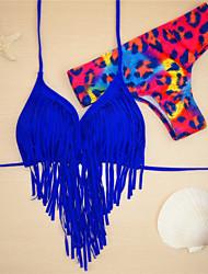 Women's Bandeau Bikinis,Tassels Padded Bras Nylon / Spandex Red