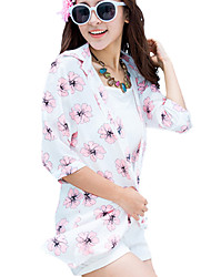 Women's Beach Boho Summer Shirt,Floral Shirt Collar ½ Length Sleeve White Polyester Thin