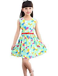 Vestido Chica de-Verano-Algodón-Verde / Naranja / Rosa