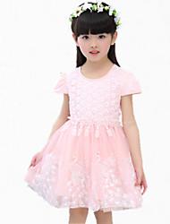 Girl's Pink / Purple / White Dress,Lace / Bow / Dresswear Cotton Summer