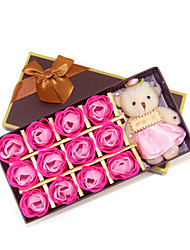 Birthday Wedding Holiday Valentine's Day Birthday Gift Romantic 12pcs  Roses Soap Flowers With Brand Bear Box