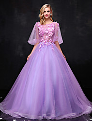 Formal Evening Dress Ball Gown Scoop Floor-length Lace / Tulle with Appliques / Beading / Crystal Detailing / Lace