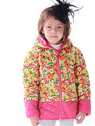 Girl's Red Jacket & Coat,Floral Cotton Winter