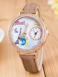 L.WEST Ladies' 3D The Eiffel Tower Diamonds Silicone Quartz Watch Cool Watches Unique Watches