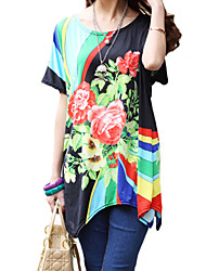 Women's Party/Cocktail Boho / Street chic Summer T-shirt,Floral Round Neck Short Sleeve Black Rayon Thin