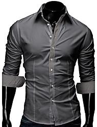 Men's Long Sleeve Shirt , 100% Cotton Casual / Work / Formal / Plus Sizes Striped / Plaids & Checks / Pure